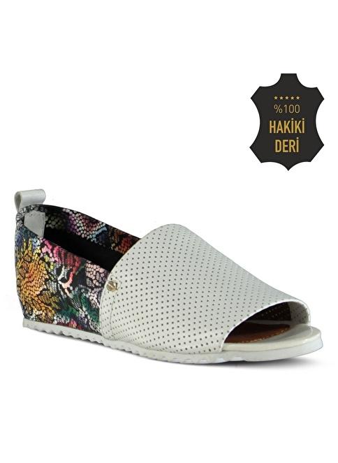 Marjin % 100 Deri Düz Ayakkabı Beyaz
